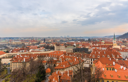 Panoramic ariel view of famous historical Old Town in Prague city, capital of Czech Republic at late afternoon at Winter time.