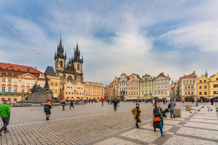 Prague, Czech Republic-January 31, 2019. Famous Old Town Square with its historical buildings on January 31, 2019 in the Old Town quarter of Prague. Redactioneel