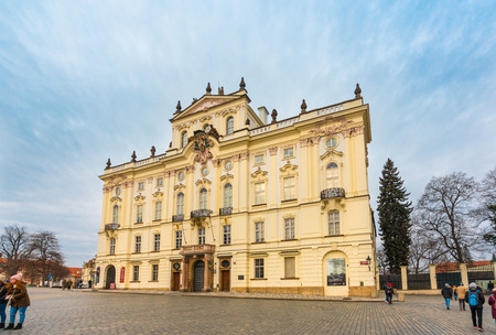 Prague, Czech Republic-February 01, 2019. Baroque and Rococo style Archbishop palace has served as a seat of the Pragues archbishops since 1562. Nowadays it is the seat of Catholic Church in Prague.