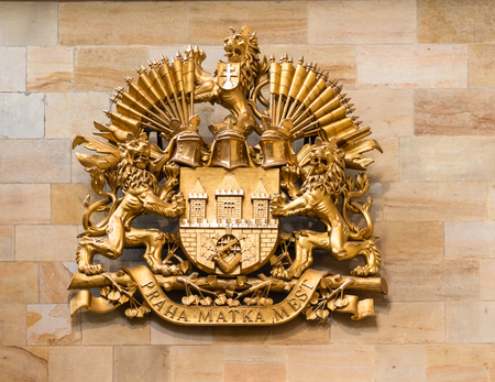 Coat of arms of the Prague City with the motto (Prague, the mother of cities) at St. Vitus Cathedral of Prague Palace. 報道画像