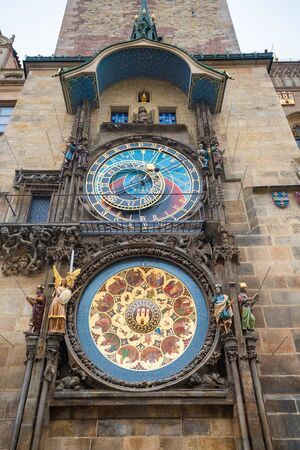 Prague, Czech Republic. Famous and unique medieval Astronomical Clock on the Gothic tower of Old Town Hall. The clock was first installed in 1410 and now is the oldest one still operating.