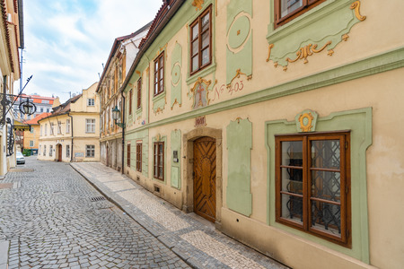 Prague, Czech Republic-February 01, 2019. View of typical street in old town of Prague, Czech Republic on February 01, 2019.