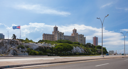 Havana, Cuba-October 07, 2016. Hotel Nacional de Cuba is a historic Spanish hotel in Havana, which opened in December 1930. Located on the sea front of the Vedado district, view from the Malecon.