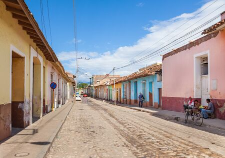 Trinidad, Cuba-October 14, 2016. View of street with colourful historical colonial style buildings in Trinidad town of Central Cuba. 報道画像