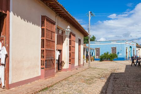 Trinidad, Cuba-October 14, 2016. Typical street with colorful historical colonial style buildings in Trinidad town of Central Cuba. Editorial