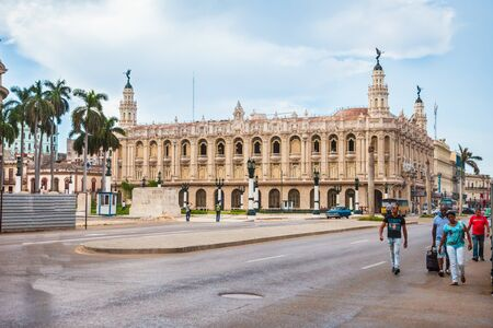 Havana, Cuba-October 07, 2016. View of the Great Theatre of Havana-Galician Centre. The National Ballet of Cuba and the State Opera are based in this building in Old Havana City.