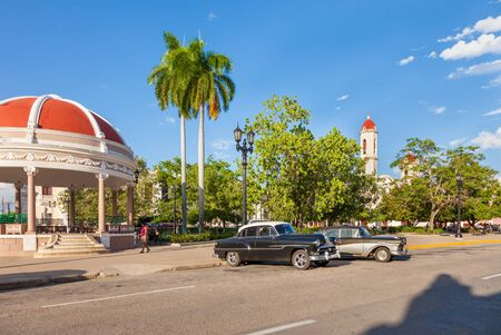 Cienfuegos, Cuba-October 13, 2016. View of the central square, park and garden called Parque Jose Marti in historical centre of Cienfuegos south coast town with colonial-era buildings. Editorial