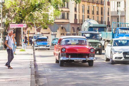 Havana, Cuba-October 08, 2016. Traffic jam on the street at old part of Havana City on October 08 2016.