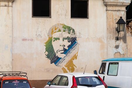 Havana, Cuba-October 9, 2016. Iconic painting of Che Guevara portrait on the wall and is common view on the streets in all Cuba cities on October 9, 2015 in Havana, Cuba.