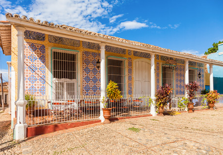 Trinidad, Cuba. Colorful building, typical Spanish Colonial Architecture at historical town center and UNESCO World Heritage site.