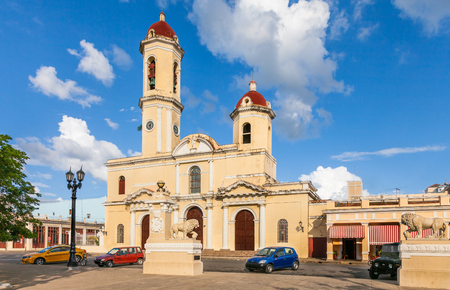 Cienfuegos, Cuba-Otober 13, 2016. Cienfuegos Cathedral (Catedral de la Purisima Concepcion) is a religious building, located opposite the Jose Marti Park in the historical Cienfuegos city center.