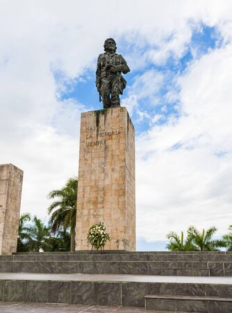 Santa Clara, Cuba-14 October, 2016. Bronze statue of Che Guevara Cuban National Monument at the Plaza de la Revolution, Mausoleum is resting place of Che Guevara and other fighters.