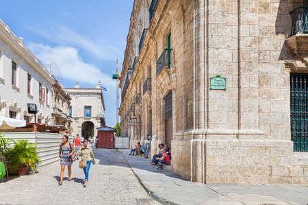 Havana, Cuba-October 7, 2016. Street life view at historical part of Old Havana on October 7, 2016 in Cuba.