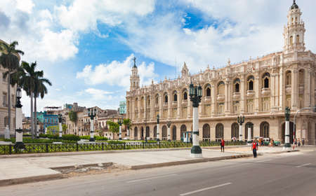 Havana, Cuba-October 07, 2016. View of the historical Great Theatre and residential, colonial style buildings at old part of Havana City on October 07 206 in Cuba.