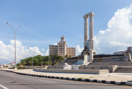 Havana, Cuba-October 07, 2016. View from the Malecon of The Maine Monument and famous, historic, Spanish eclectic style hotel