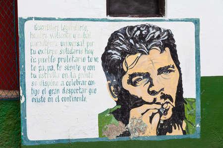 Santa Clara, Cuba-October 14, 2016. Che Guevara remembrance on the wall of the house in Santa Clara, Spanish colonial town at Cuban province Villa Clara, site of the last battle of Cuban Revoliution
