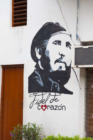 Santa Clara, Cuba-October 14, 2016. Fidel from heart on the wall of the house in Santa Clara, Spanish colonial town of the Cuban province Villa Clara, the site of the last battle of Cuban Revoliution