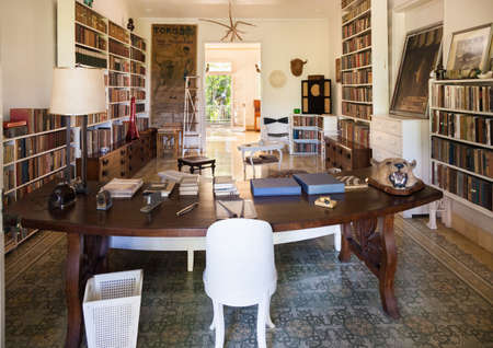 Havana, Cuba-October 08, 2016. Library, room of the Finca Vigia (Lookout Farm) a house in Havana city of Cuba which was the residence of Ernest Hemingway. The building was constructed in 1886.