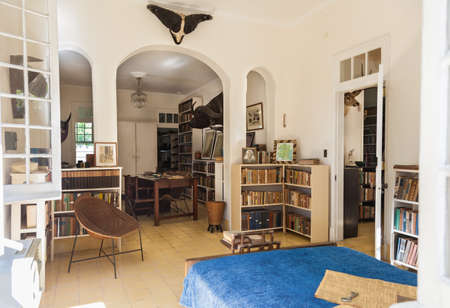Havana, Cuba-October 08, 2016. One of the rooms at the Finca Vigia, Lookout Farm, a house in Havana city of Cuba which was the residence of Ernest Hemingway. The building was constructed in 1886.