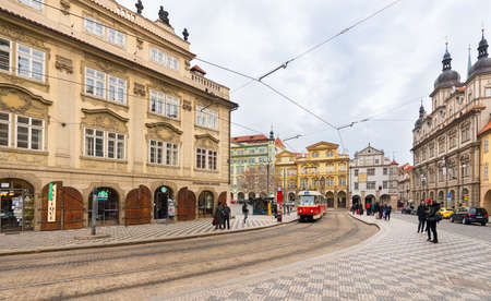 Prague, Czech Republic-February 01, 2019. Malostranske namesti is the main square of the Prague's Lesser Town with remarkable architecture of old buildings and historical Palaces.