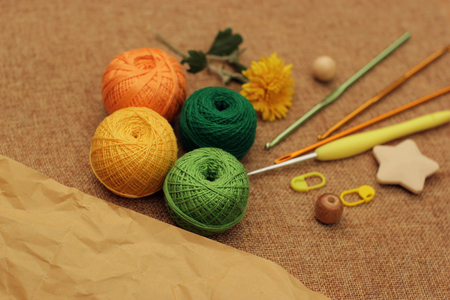 shades of autumn crochet yarn balls paper copy space Stock fotó