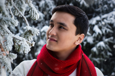 snow and red scarf