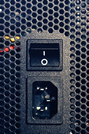 Power connector and power on off switch of the computer system unit vertical