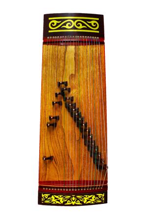 Zhetygen turkic folk plucked musical instrument flat lay isolated 写真素材