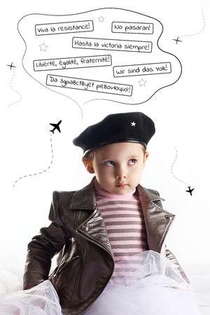 Baby revolution three years negativism crisis concept Che Guevara cosplay vertical
