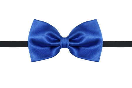 Blue bow tie close up isolated on white background