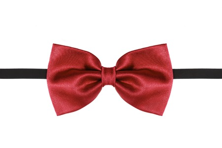 Red bow tie close up isolated on white background