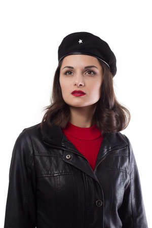 Young woman black jacket and hat with a reference to Ernesto looking vertical on a white background