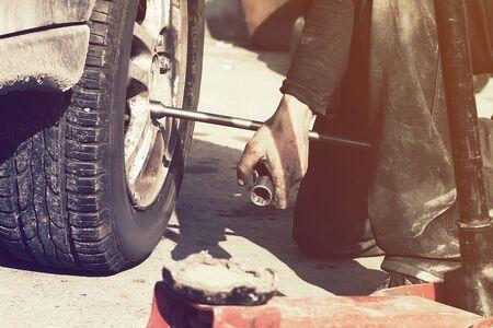 Rust and mud scene of wheel perair process life style