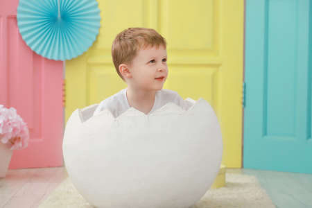 A little toddler kid boy is sitting in a white egg that hatched against a studio colorful background for a newborn portrait or family concept.