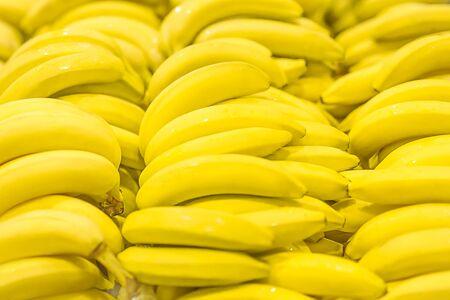 Fresh clear banana sunny yellow background texture Imagens