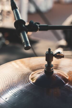 Close up microphone for hi hat drum sound Stock Photo