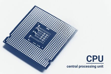 Central processor unit CPU chip in blue monochrome toned on white background with copy space