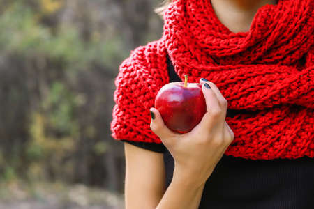 A large ripe apple in a woman hand on a background of a red scarf