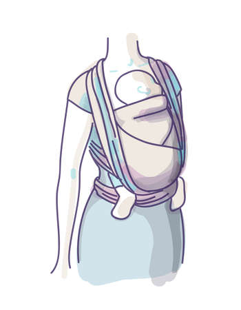 Vector Babywearing Illustration With Mother and her Baby In a Sling Scarf. Vector Illustratie
