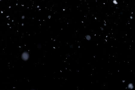 Real falling snow on black background for blending modes in ps. Ver 02 - few snowflakes in blur.