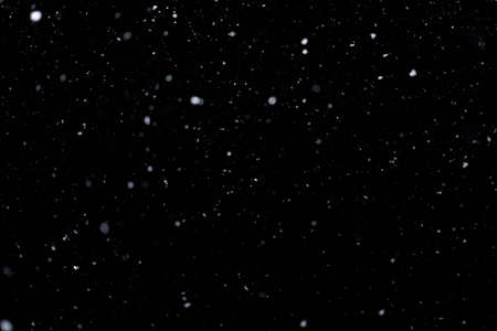 Real falling snow on black background for blending modes in ps. Ver 09 - few snowflakes in blur