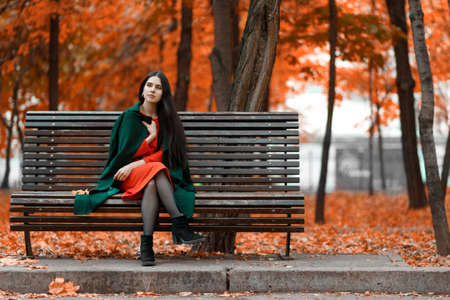 Young beautiful brunette bored alone on a bench in an autumn park Standard-Bild