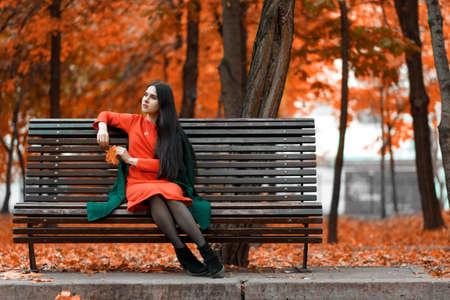 Beautiful young woman autumn mood outdoor portrait Standard-Bild