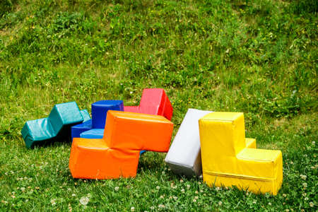 Soft colorful huge tetris puzzle. Outdoor games.