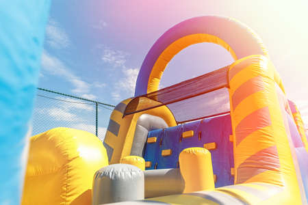 Inflatable playground for children games or teambuilding outdoor activities.