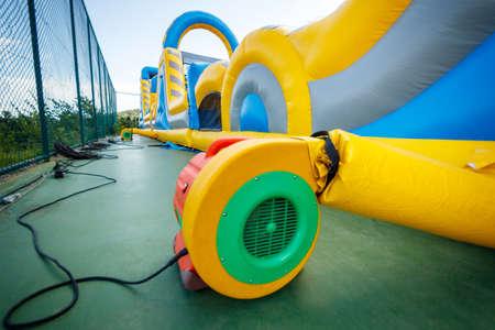 Air blower electric pump fan for big inflatable trampoline. Standard-Bild