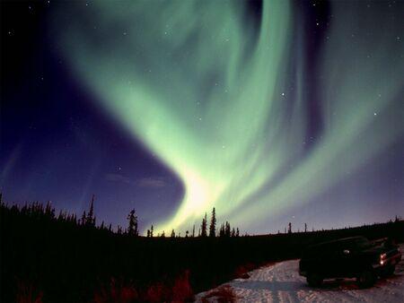 One of the nice and powerful aurora displays near Fairbanks, AK, November 2005120 format slide scan (Provia 400F). Stock Photo - 286615