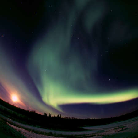 Aurora Borealis can be strong enough to overpower full Moon shining in the night sky 免版税图像