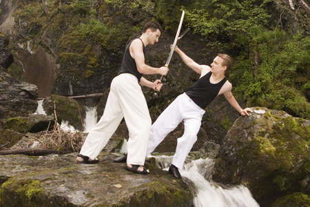 Dangerous but friendly pracitce with real swords