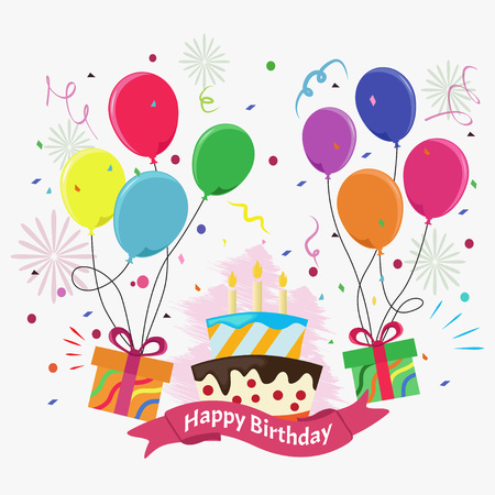 Cute Birthday Card With Cake Candles Gift Boxes And Balloons On
